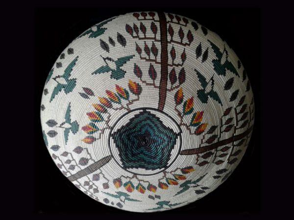 elegant oversized hummingbirds and tropical blossoms Darien indigenous basket Panama 2