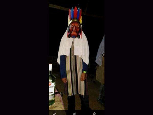 proud chieftain used ceremonial mask Boruca village Costa Rica
