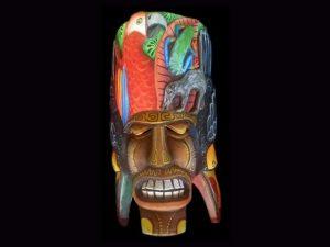rainforest vignette native Brunka carved mask Costa Rica