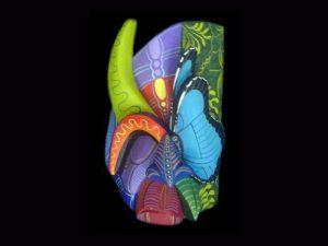 blue morpho butterfly vision Brunka tribal mask Costa Rica