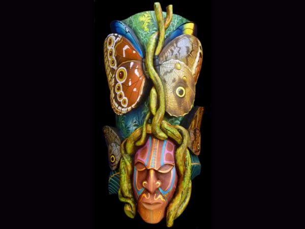 morpho butterfly underwing fine indigenous arts Boruca Costa Rica