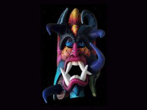 luminous demon traditional Brunka tribal mask Costa Rica