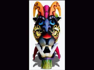 Brunka traditional mask fused with jaguar Costa Rica Native arts