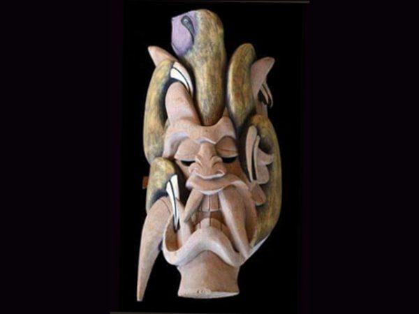sloth-bound eco-diablo carved indigenous mask Boruca Costa Rica
