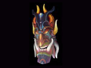 intense carved traditional Brunka diablo mask Costa Rica