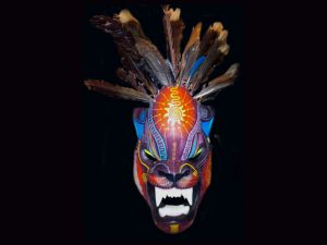 sun cat feathered ceremonial indigenous mask Boruca Costa Rica