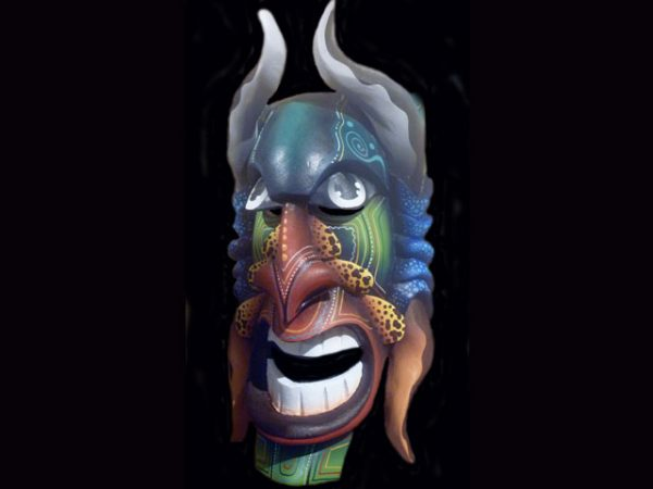 laughing demon Brunka tribal mask