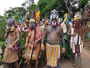 feathered ancestor mask context image Boruca village Costa Rica