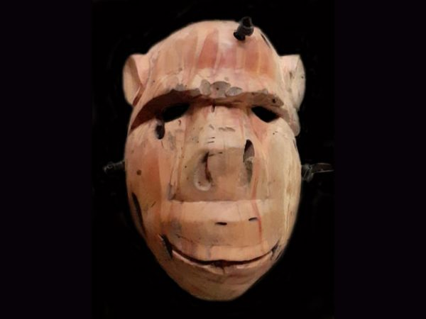 simian mask in old tropical hardwood Brunka tribe Costa Rica