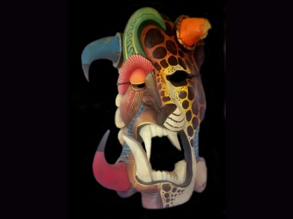 ferocious worn ceremonial mask Boruca Costa Rica