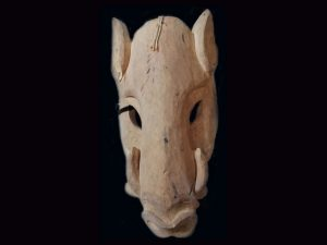 older Brunka used tribal mask Boruca Costa Rica