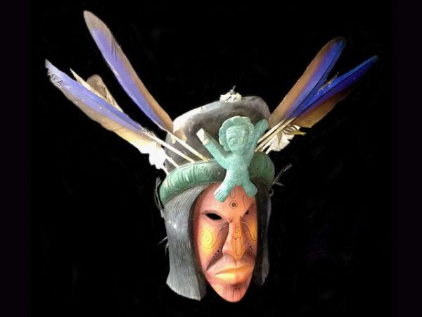 ancestral medicine man used ceremonial indigenous mask Boruca village Costa Rica