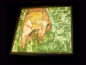 coatimundi theme hand painted and fired eco-tiles Costa Rica