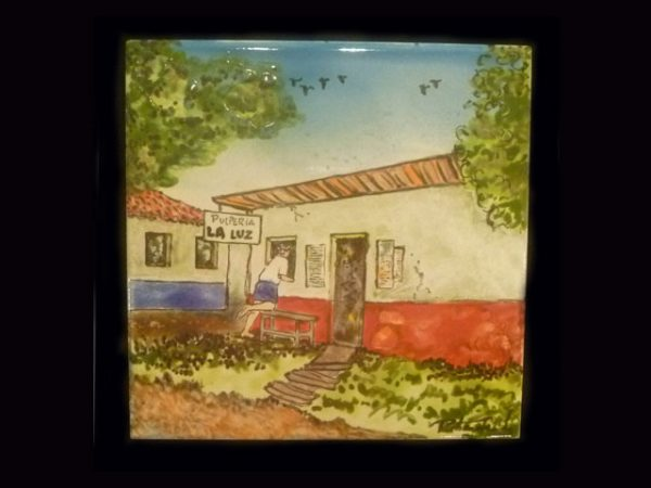 rural Costa Rica of yesteryear hand painted and fied ceramic tiles