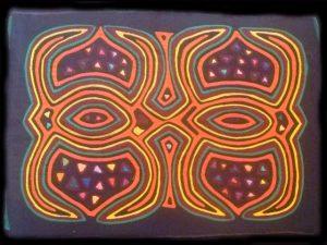 spectacular traditional geometric traditional Kuna 'mola'
