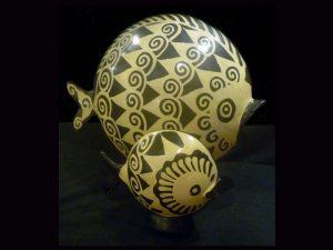 dazzling pair of Lenca pottery fish