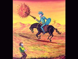 "Yan Aguilar folk painter Costa Rica ""don Quixote circa 2021"""