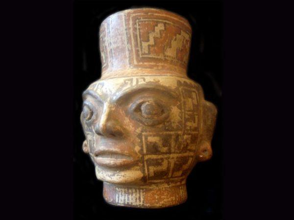 Pre-Columbian Gran Nicoya effigy head pot, Costa Rica