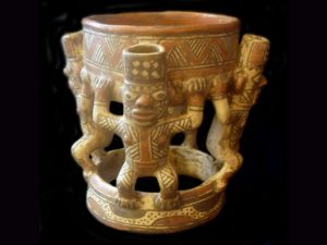 pre-columbian human supported bowl, Guanacaste Costa Rica