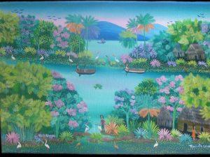 Solentiname Islands oild on canvas folk art