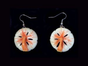 white hibiscus earrings