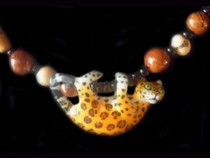 tagua and glass trade beads Wounaan tribal jaguar necklace Panama 2