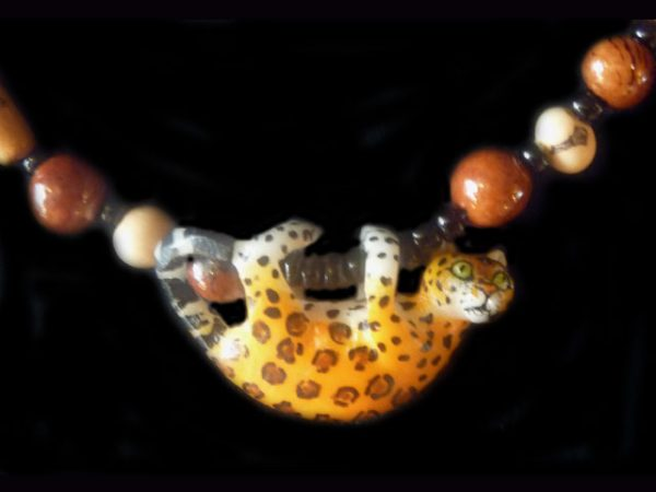 tagua and glass trade beads Wounaan tribal jaguar necklace Panama 2
