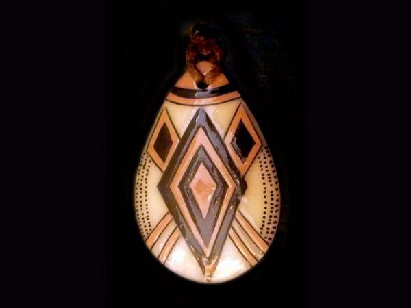 tribal cultural motif tagua pendant