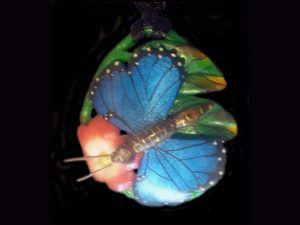 carved tagua morpho butterfly and blossom