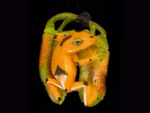 poison dart frog carved pendant