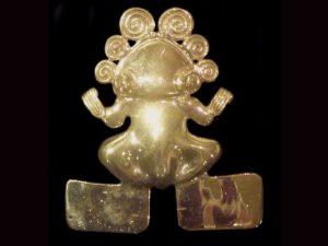 pre-Hispanic gold amphibian replica amulet