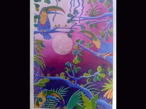 toucans and leaf-cutter ants at dawn acrylic on canvas