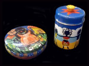 painted tin pantry lidded containers
