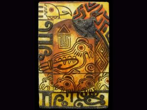 Painted Plaque 001 (Folk Art Campos Painting 002) SOLD